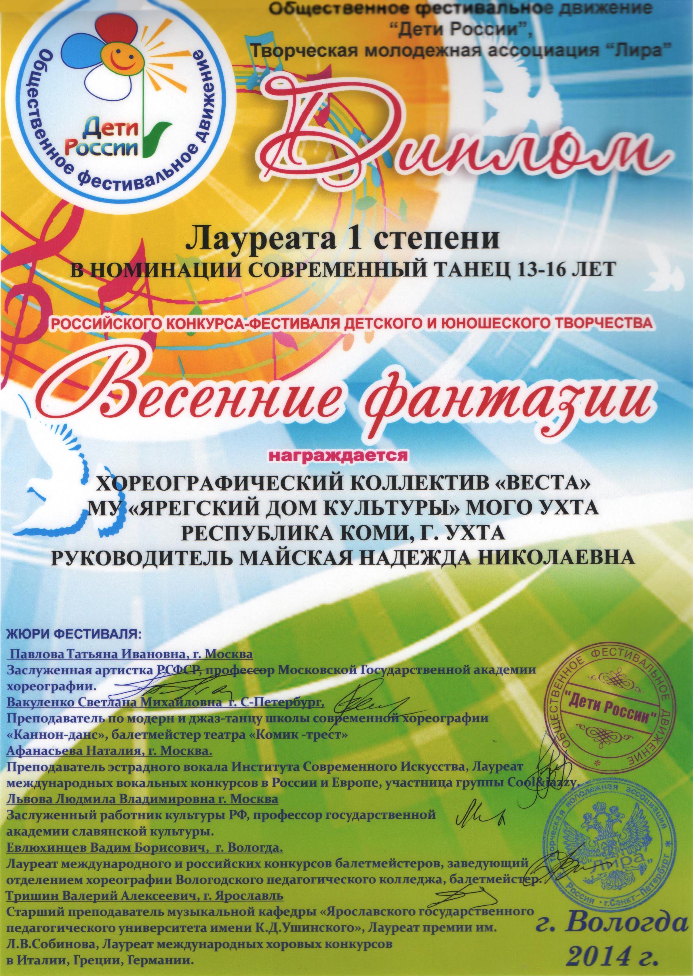 Фестиваль конкурсы весной для детей